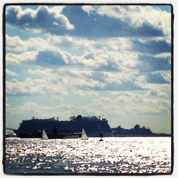 Cruise Ship. Puffy Clouds. Sunshine. Sails. Smiles.